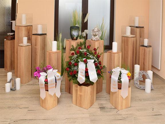 Abschiedsraum bei einer Urnen-Beisetzung